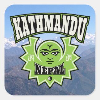 Kathmandu Nepalese Sun and Moon Symbols Square Sticker