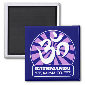 Kathmandu New Age and Buddhist Om Symbol Square Magnet