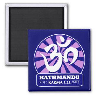 Kathmandu New Age and Buddhist Om Symbol Square Magnet