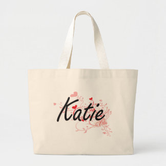 Katie Artistic Name Design with Hearts Large Tote Bag