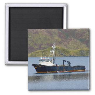 Katie K, Crab Boat in Dutch Harbor, Alaska Square Magnet