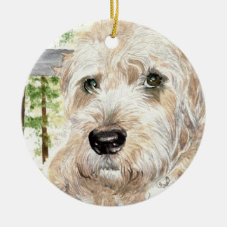Katie the soft coated Wheaton Terrier Round Ceramic Decoration