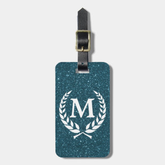 Katinos Antique Blue Glitz Monogrammed Luggage Tag
