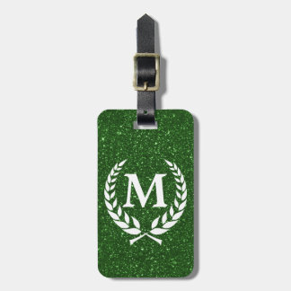 Katinos Antique Green Glitz Monogrammed Luggage Tag