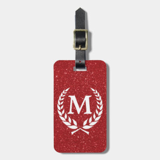 Katinos Antique Red Glitz Monogrammed Luggage Tag