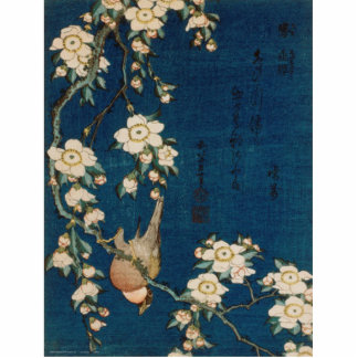 Katsushika Hokusai 葛飾 北斎 Goldfinch and Cherry Tree Standing Photo Sculpture