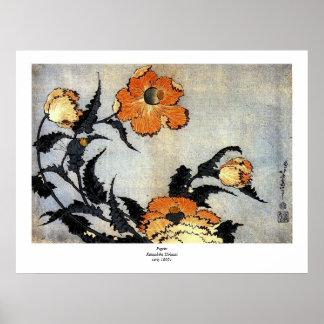 Katsushika Hokusai s Poppies Poster