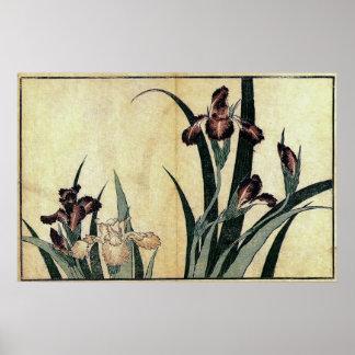 Katsushika Hokusai's Irises Poster