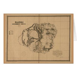 Kauai, 1878, Vintage Hawaii Map Card