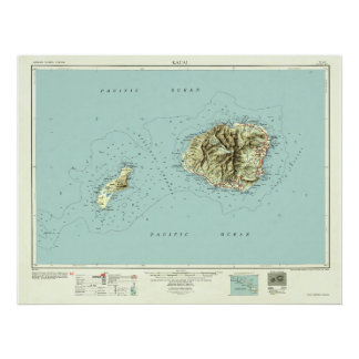 Kauai, Hawaii--Vintage 1954 Map Poster