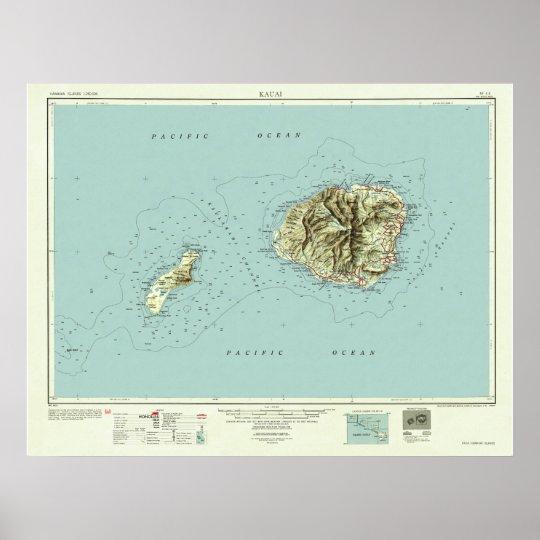 Kauai, Hawaii--Vintage 1954 Map Poster