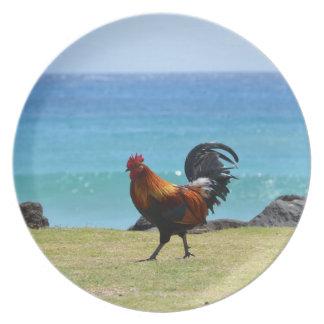 Kauai rooster dinner plates