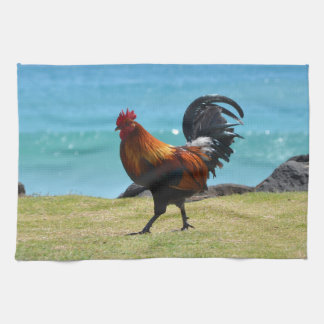 Kauai rooster tea towel