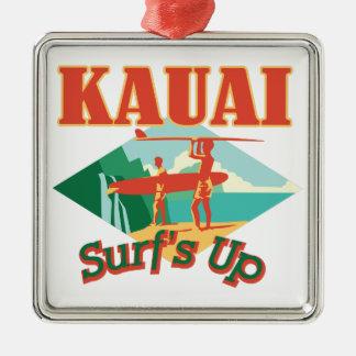 Kauai Surfs Up Silver-Colored Square Decoration
