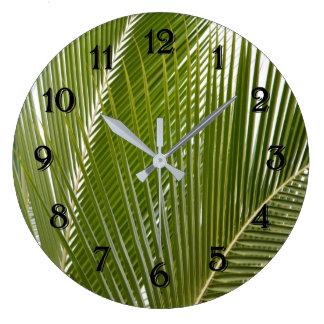 Kauai Tropical Palm Tree Leaves Large Clock