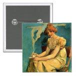 Kava By Alphonse (Alfons) Mucha ~ Art Nouveau Button