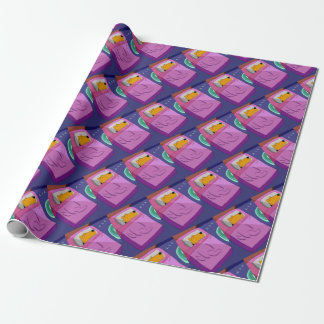 Kawaii Airedale Terrier Dog in Bed Wrapping Paper