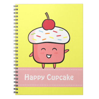 Kawaii and Happy Pink Cupcake with Cherry Notebook