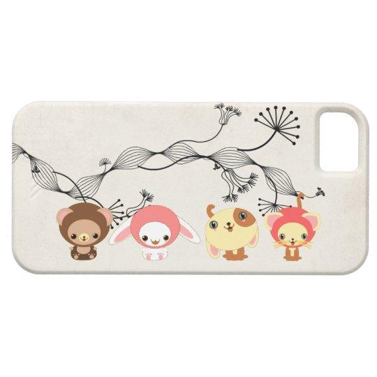 kawaii animals on vintage wrinkled old paper case