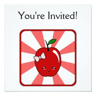 Kawaii Apple (Girl) 13 Cm X 13 Cm Square Invitation Card