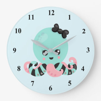 Kawaii Art Octopus Design Large Clock