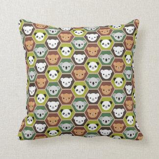 Kawaii Autumn Bears Throw Pillow