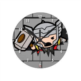 Kawaii Avengers Brick Wall Pattern Round Clock