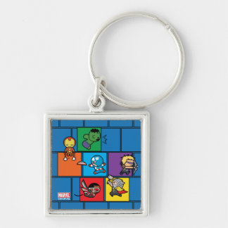 Kawaii Avengers In Colorful Blocks Key Ring