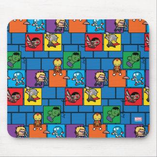 Kawaii Avengers In Colorful Blocks Mouse Mat
