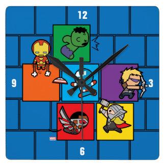 Kawaii Avengers In Colorful Blocks Square Wall Clock