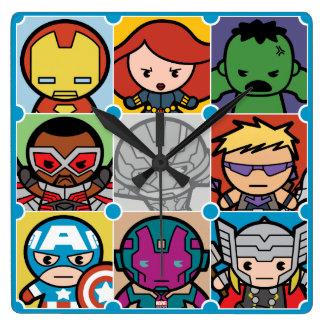 Kawaii Avengers Vs Ultron Pattern Square Wall Clock