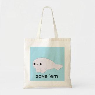 Kawaii baby seal 'save 'em' tote budget tote bag