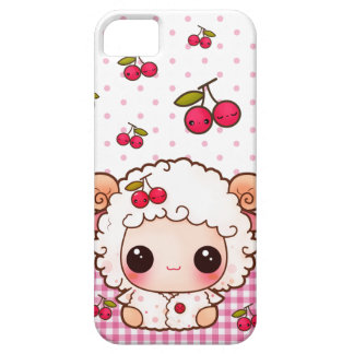 Kawaii baby sheep and cute cherries barely there iPhone 5 case