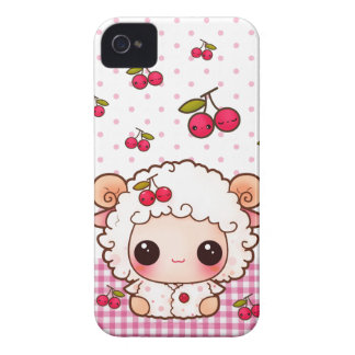 Kawaii baby sheep and cute cherries Case-Mate iPhone 4 case