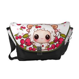 Kawaii baby sheep and cute cherries commuter bag