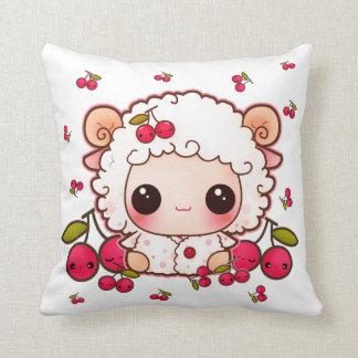Kawaii baby sheep and cute cherries throw pillow
