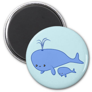 Kawaii Baby Whale and Mama Whale 6 Cm Round Magnet