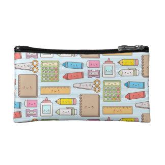 Kawaii Back to School Supplies Pattern For Girls Makeup Bag
