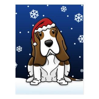 Kawaii Basset Hound Christmas Postcard