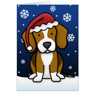 Kawaii Beagle Christmas Card