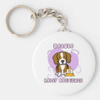 Kawaii Beagle Rally Obedience Basic Round Button Key Ring