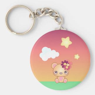 Kawaii Bear Basic Round Button Key Ring