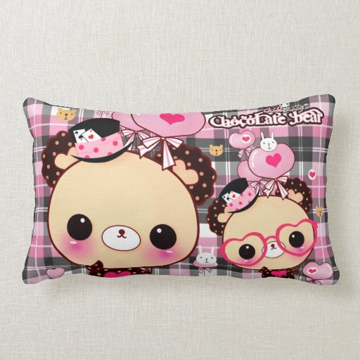 Kawaii bear with heart glasses and balloons pillow