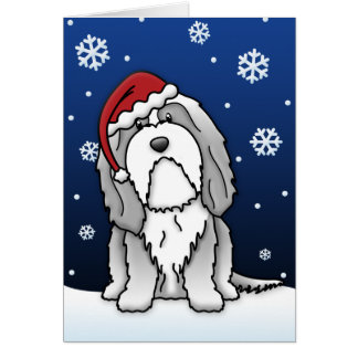 Kawaii Bearded Collie Christmas Card
