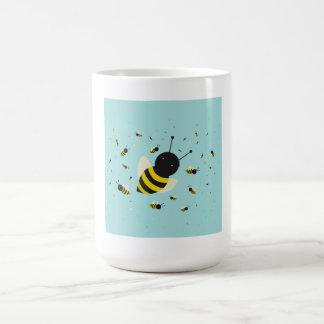 kawaii bee swarm and polka dots pastel blue coffee mugs