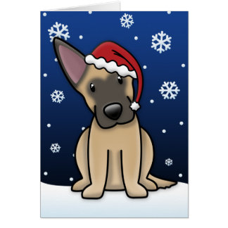 Kawaii Belgian Malinois Christmas Card
