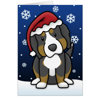 Kawaii Bernese Mountain Dog Christmas Card
