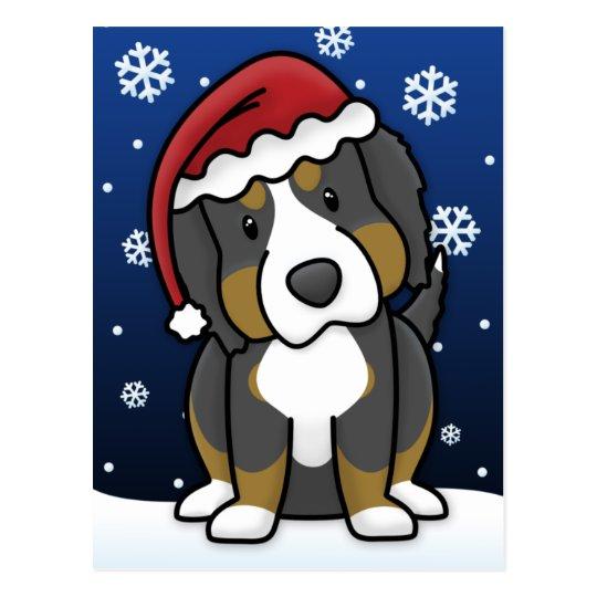 Kawaii Bernese Mountain Dog Christmas Postcard