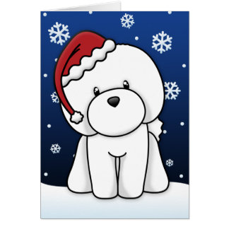 Kawaii Bichon Frise Christmas Card