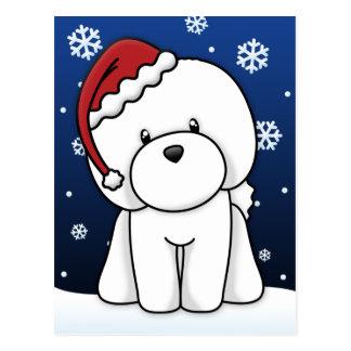Kawaii Bichon Frise Christmas Postcard